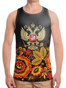 """Борцовка с полной запечаткой """"Россия"""" - цветы, русский, россия, герб, орел"""