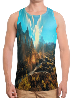 """Борцовка с полной запечаткой """"Лес в горах"""" - лес, деревья, природа, горы, пейзаж"""