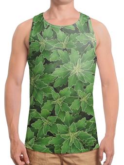 """Борцовка с полной запечаткой """"Зеленые листья"""" - цветы, растение, листья, природа, куст"""