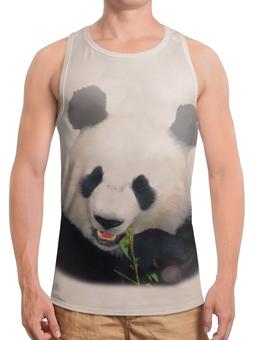 """Борцовка с полной запечаткой (Мужская) """"Панда"""" - медведь, панда, черно-белый, китай, бамбуковый"""