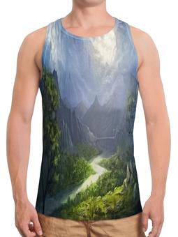 """Борцовка с полной запечаткой """"Пейзаж красками"""" - лес, природа, горы, пейзаж, река"""