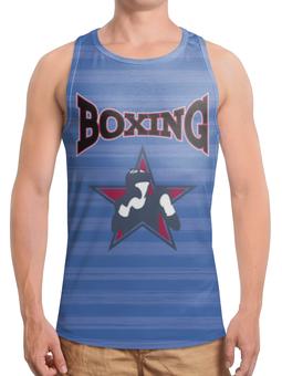 """Борцовка с полной запечаткой (Мужская) """"Боксер"""" - звезда, надпись, полоска, синий, боксер"""