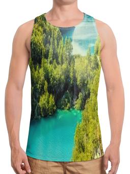 """Борцовка с полной запечаткой """"Природа"""" - природа, водопад, страны, деревья, вода"""
