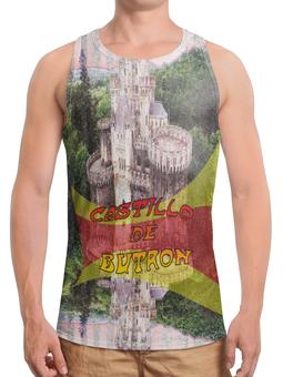"""Борцовка с полной запечаткой (Мужская) """"Замки Испании. Замок Бутрон"""" - красный, испания, полоски, крепость, испанский флаг"""