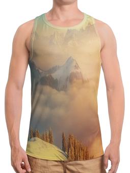 """Борцовка с полной запечаткой """"Горный пейзаж"""" - снег, деревья, природа, горы, туман"""