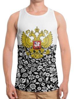 """Борцовка с полной запечаткой """"Цветы и герб"""" - цветы, россия, герб, орел, хохлома"""
