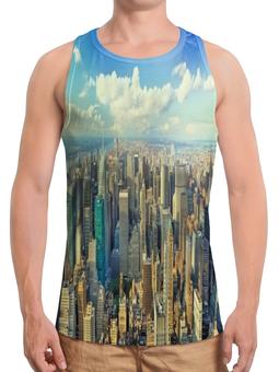 """Борцовка с полной запечаткой """"Megapolis"""" - страны, города, облака, дома, мегаполис"""