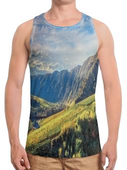 """Борцовка с полной запечаткой """"Горный хребет"""" - горы, лес, пейзаж, небо, природа"""