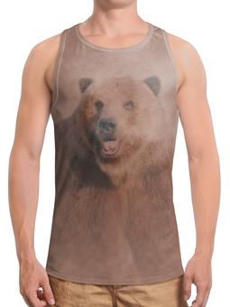 """Борцовка с полной запечаткой (Мужская) """"Медведь"""" - медведь, рисунок, животное, коричневый, бурый"""