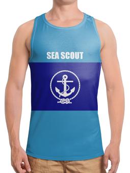 """Борцовка с полной запечаткой """"Морской разведчик"""" - море, якорь, канат, разведчик"""