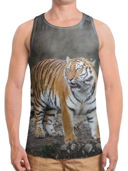 """Борцовка с полной запечаткой """"Свирепый тигр"""" - тигр, фотография, животное"""