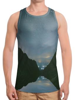 """Борцовка с полной запечаткой """"Вечерний пейзаж"""" - звезды, природа, горы, вода, берег"""
