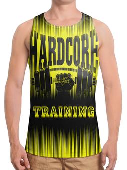 """Борцовка с полной запечаткой (Мужская) """"HARDCORE TRAINING!!!"""" - gym, гантеля, спортзал, тренинг, кач"""