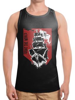 """Борцовка с полной запечаткой """"Пиратский корабль"""" - пираты, корабль, паруса, весёлый роджер"""
