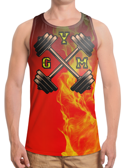 """Борцовка с полной запечаткой """"GYM TOTAL!!!"""" - огонь, gym, спортзал, кач, гантели"""