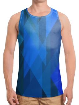 """Борцовка с полной запечаткой """"Синий абстрактный"""" - графика, синий, краски, абстракция, треугольники"""