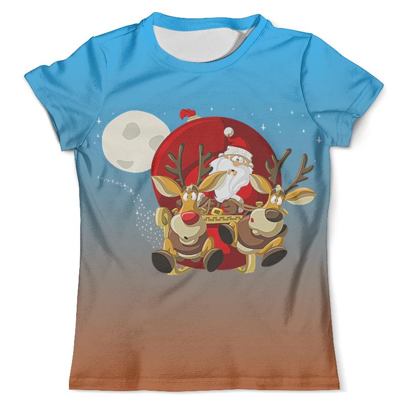 Футболка с полной запечаткой (мужская) Printio Санта с оленями plus size pumpkin halloween ripped sweater
