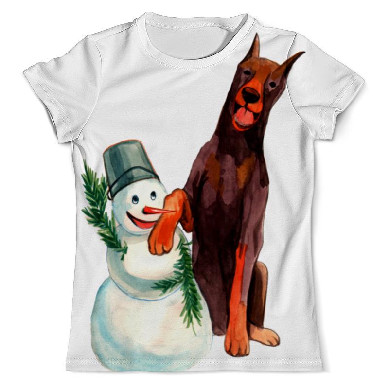 футболка с полной запечаткой для мальчиков printio забавная акварельная собака символ 2018 года Футболка с полной запечаткой (мужская) Printio Забавная акварельная собака, символ 2018 года
