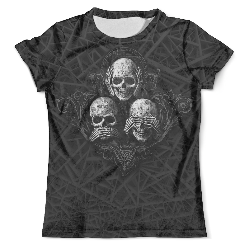 Футболка с полной запечаткой (мужская) Printio Skulls..see no evil,hear no evil, speak no evil skulls openwork see through cover ups bathing suit