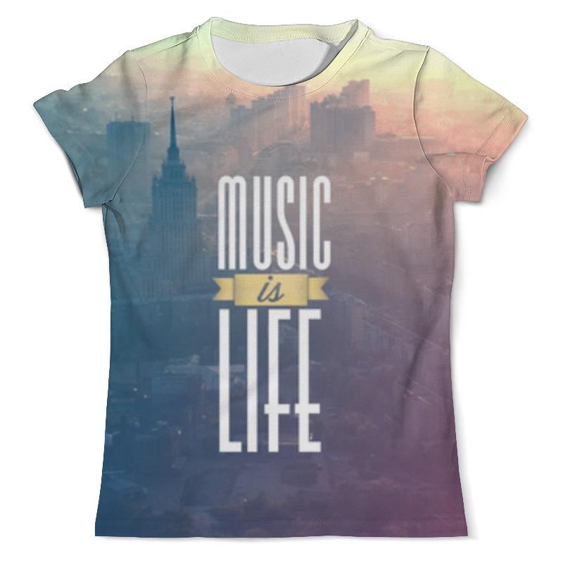 Футболка с полной запечаткой (мужская) Printio Music is life нитки music is still