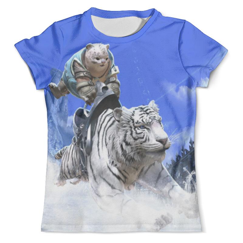 Футболка с полной запечаткой (мужская) Printio Белый тигр цена и фото