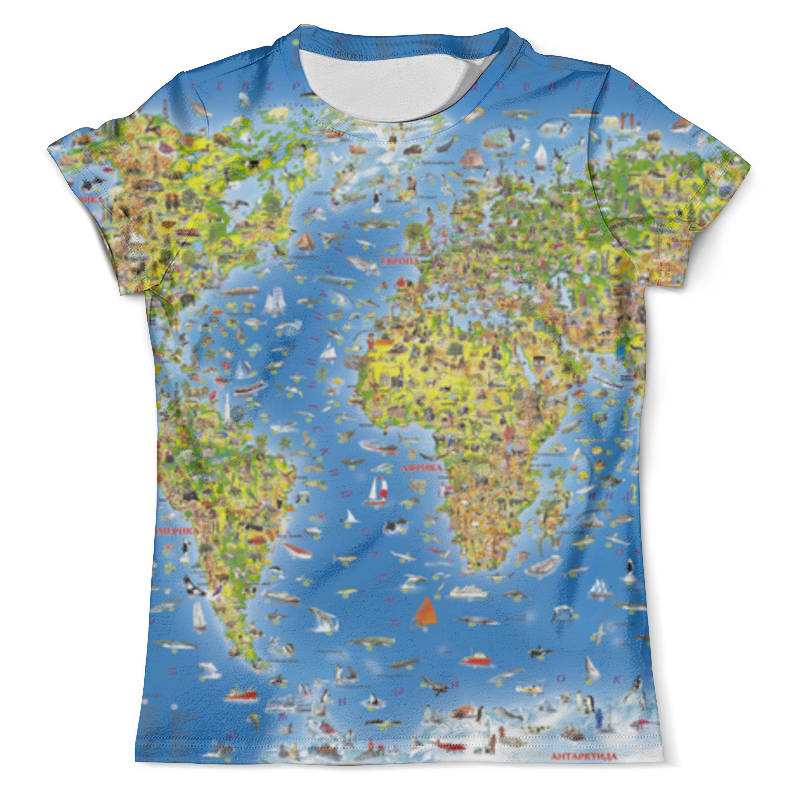 Футболка с полной запечаткой (мужская) Printio World map стоимость