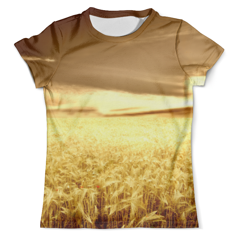 Футболка с полной запечаткой (мужская) Printio Золотые колосья пшеницы при свете закатного солнца при свете надежды