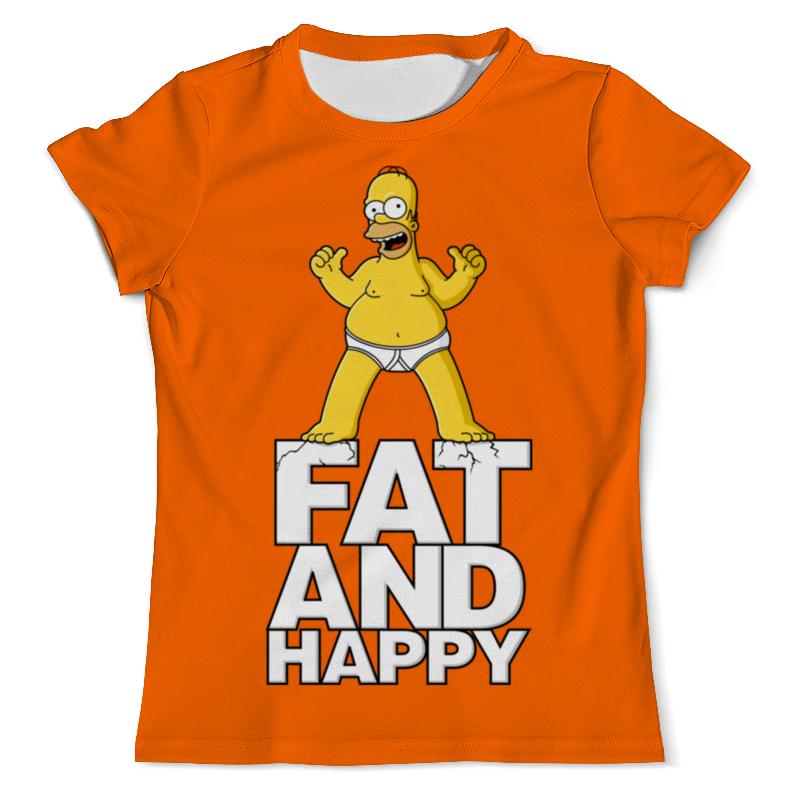 Printio Гомер симпсон. толстый и счастливый футболка с полной запечаткой для девочек printio гомер симпсон толстый и счастливый