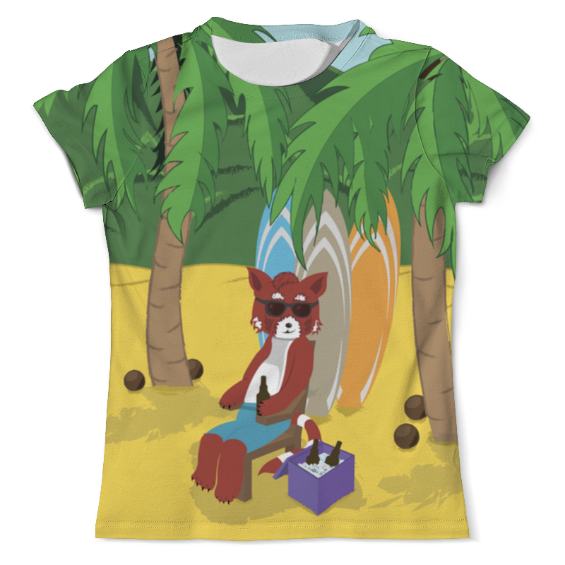 Футболка с полной запечаткой (мужская) Printio Красная панда на пляже футболка с полной запечаткой мужская printio семья красной шапочки