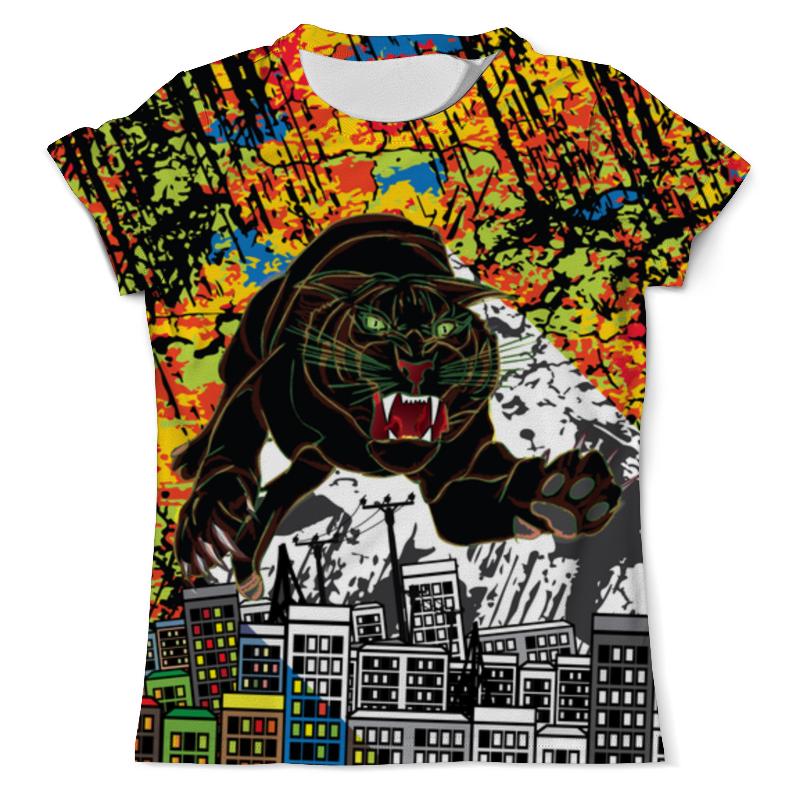 Футболка с полной запечаткой (мужская) Printio Черный тигр футболка с полной запечаткой мужская printio тигр 3d