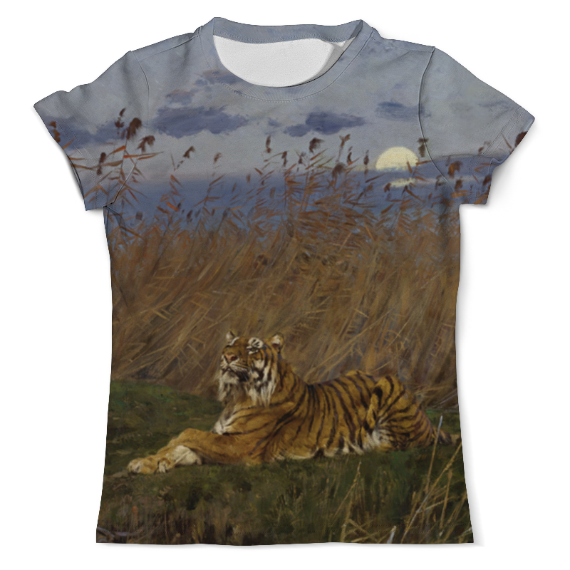 Футболка с полной запечаткой (мужская) Printio Тигр среди камышей в лунном свете футболка с полной запечаткой мужская printio тигр 3d