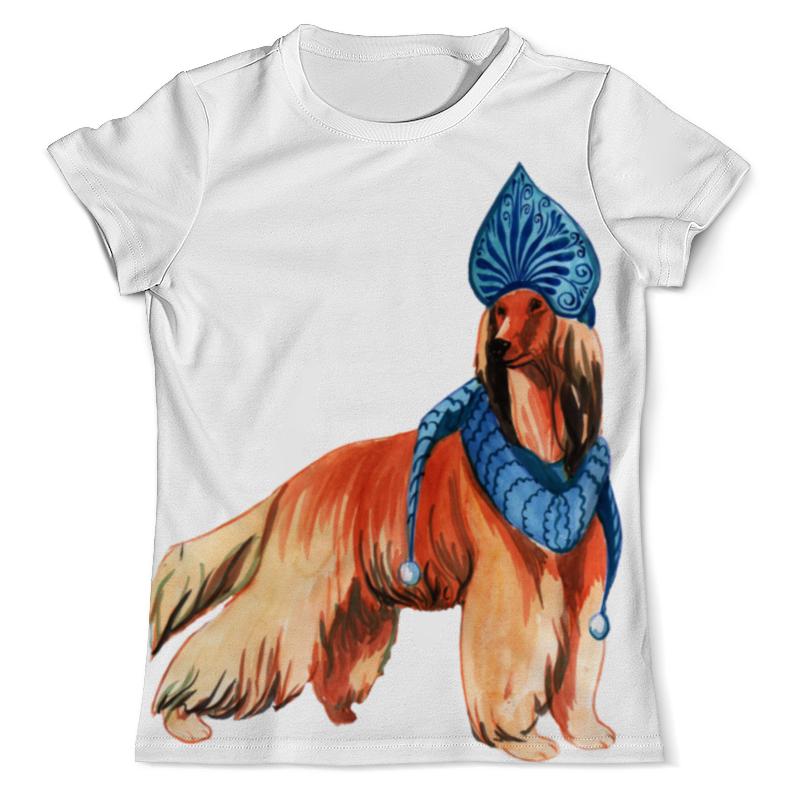 футболка с полной запечаткой для мальчиков printio забавная акварельная собака символ 2018 года Футболка с полной запечаткой (мужская) Printio Акварельная новогодняя собака
