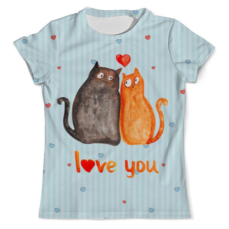 Футболка с полной запечаткой (мужская) Printio Влюбленные коты. парные футболки. футболка с полной запечаткой для девочек printio влюбленные мишки тедди парные футболки