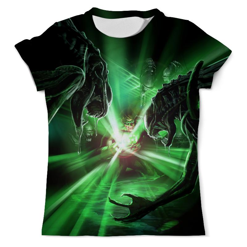 Футболка с полной запечаткой (мужская) Printio Green lantern vs aliens draw 50 aliens
