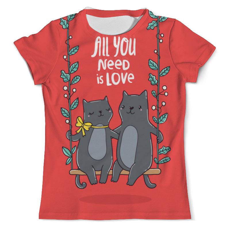 Футболка с полной запечаткой (мужская) Printio All you need is love. кошки на качелях. футболка с полной запечаткой мужская printio любовь повсюду love is all around