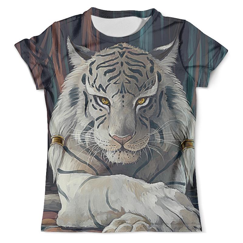 Футболка с полной запечаткой (мужская) Printio Тигры фэнтези. белый тигр цена и фото