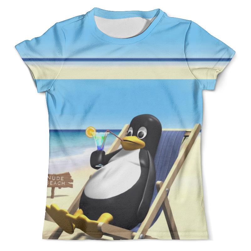 Футболка с полной запечаткой (мужская) Printio Пингвинчик на отдыхе (1) цена 2017