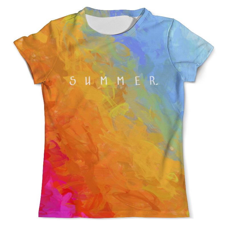 Футболка с полной запечаткой (мужская) Printio Яркий радужный дизайн с надписью summer футболка с надписью