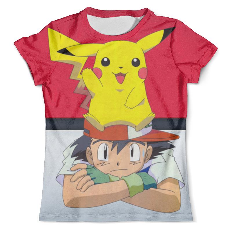 Футболка с полной запечаткой (мужская) Printio Ash & pikachu pokemon go pikachu and ash action figures model toys