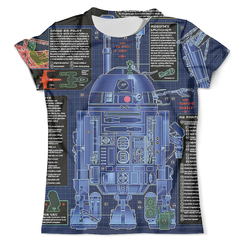Футболка с полной запечаткой (мужская) Printio R2-d2 design(star wars) футболка с полной запечаткой мужская printio звездные войны r2 d2