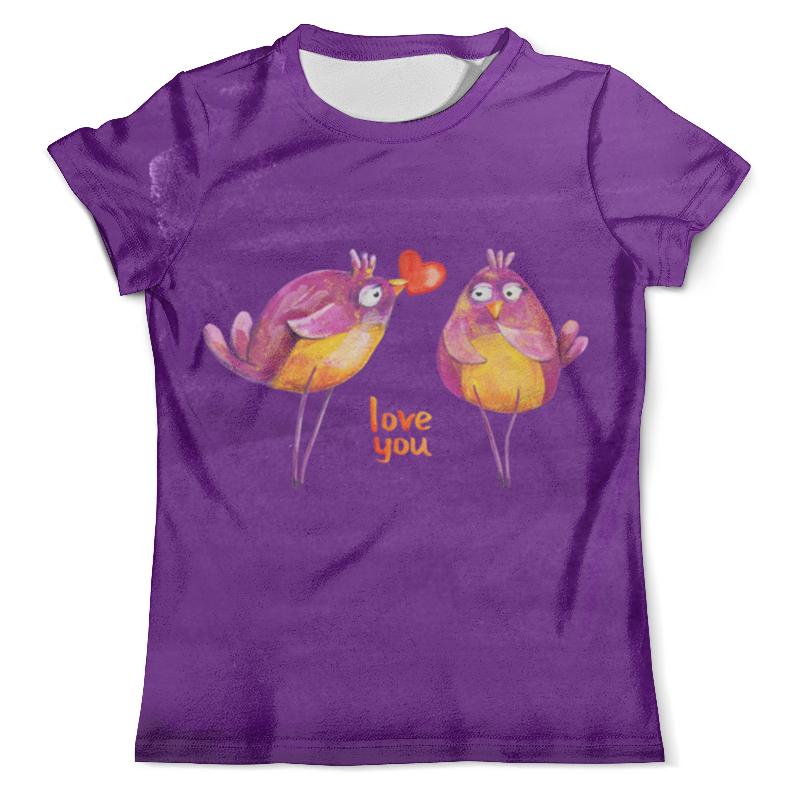Футболка с полной запечаткой (мужская) Printio Влюбленные птички. парные футболки. футболки