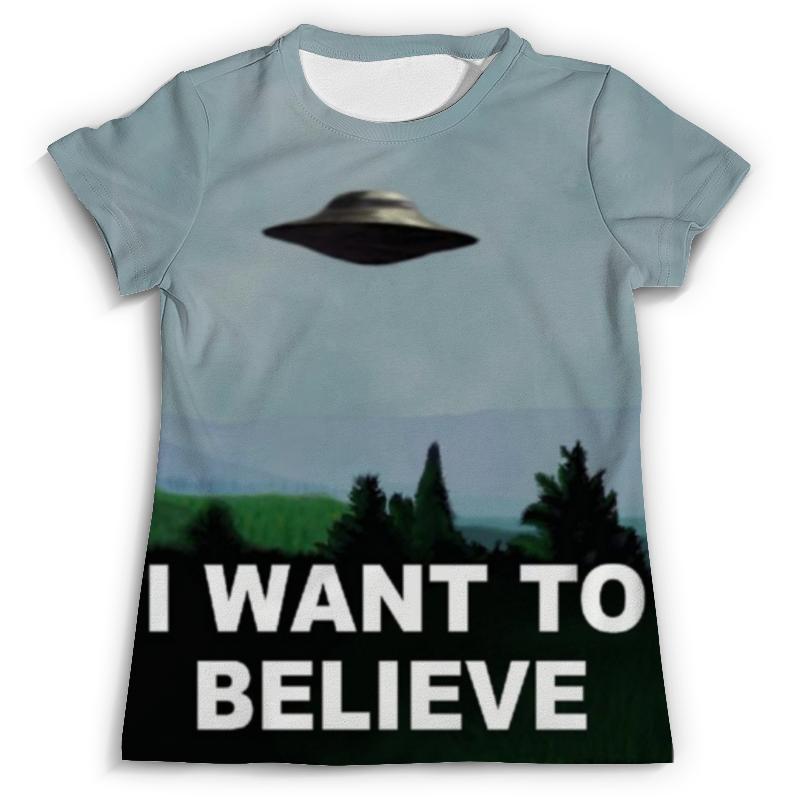 Футболка с полной запечаткой Printio I want to believe футболка с полной запечаткой для девочек printio i want you for nova corps