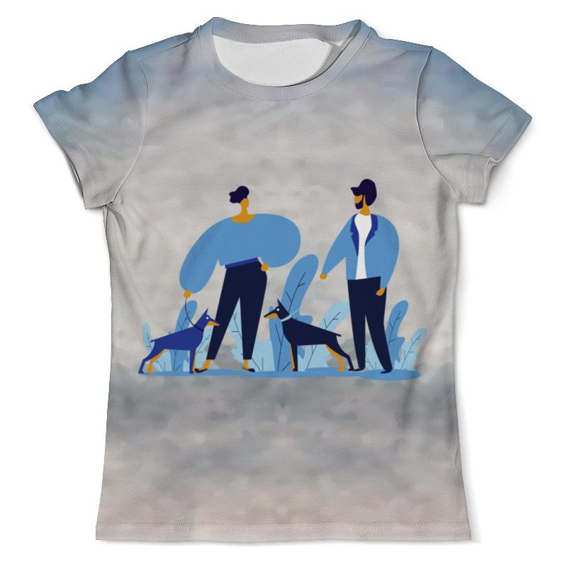 Футболка с полной запечаткой (мужская) Printio Прогулка с собакой футболка с полной запечаткой мужская printio фрактальная эзотерика мандалы