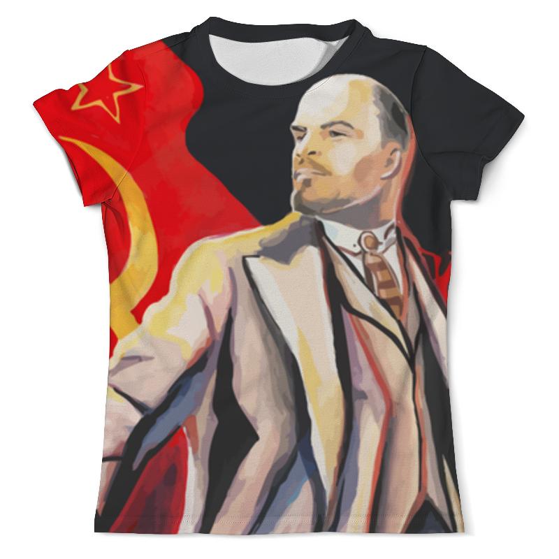 Футболка с полной запечаткой (мужская) Printio Ленин с флагом