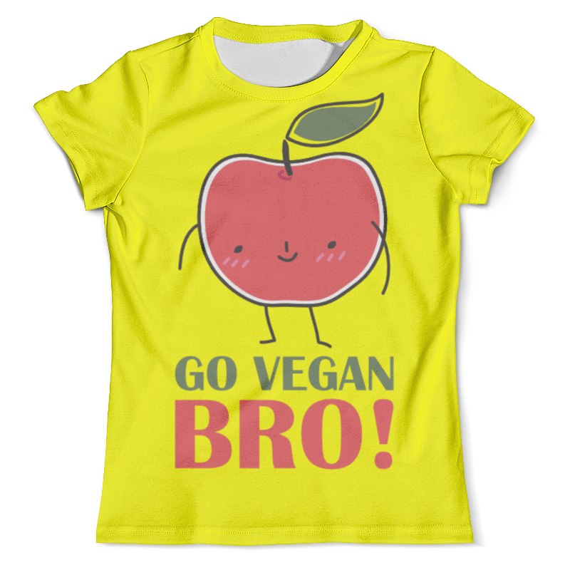Футболка с полной запечаткой (мужская) Printio Go vegan bro! майка классическая printio go vegan bro