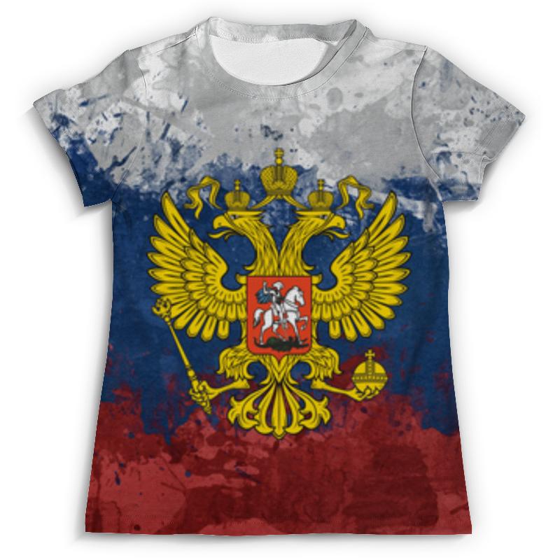 Футболка с полной запечаткой Printio Флаг и герб россии флаг пограничных войск россии великий новгород