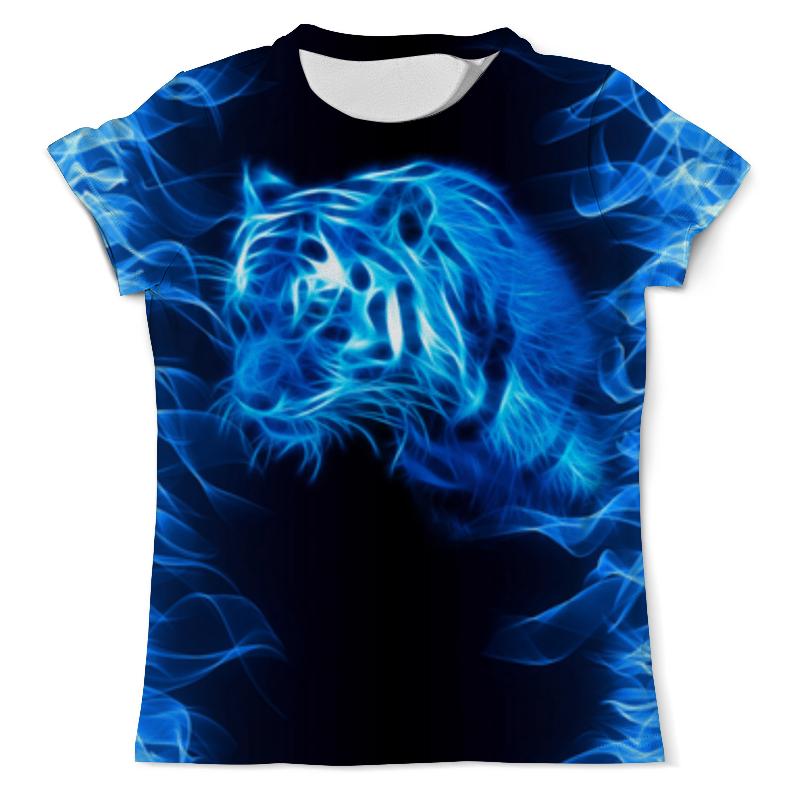 Футболка с полной запечаткой (мужская) Printio Тигр в синем пламени футболка с полной запечаткой мужская printio тигр в каске