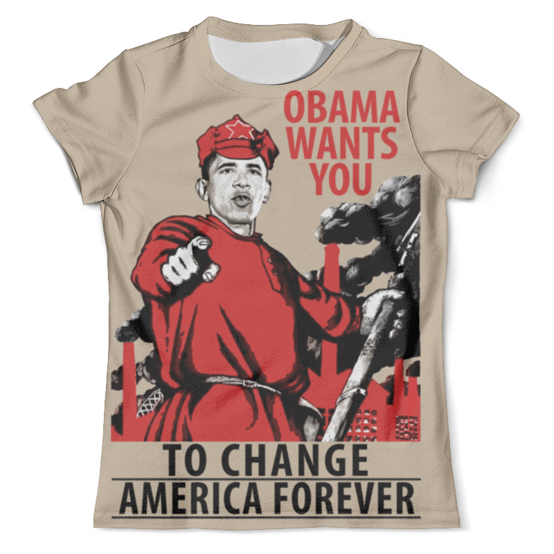 Футболка с полной запечаткой (мужская) Printio Obama red army