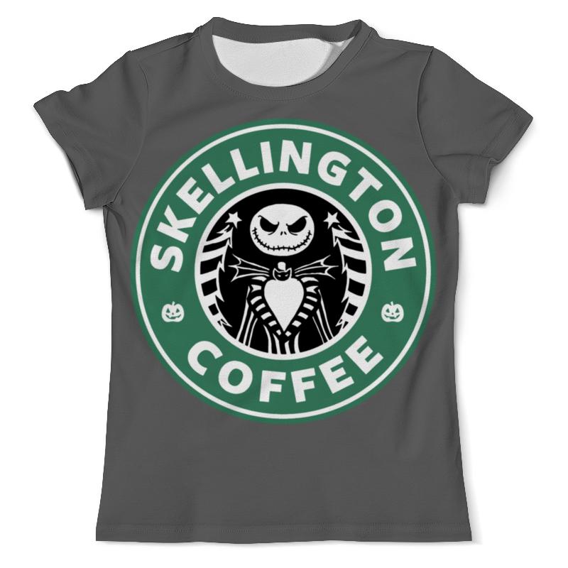Футболка с полной запечаткой (мужская) Printio Starbucks / skellington coffee