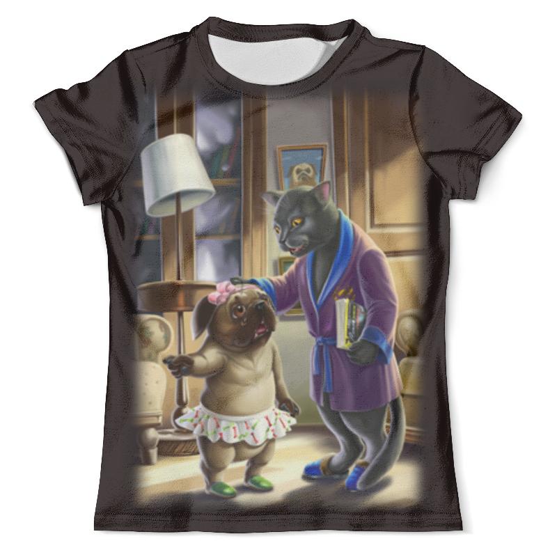 Футболка с полной запечаткой (мужская) Printio Кошечка с собакой футболка с полной запечаткой мужская printio фрактальная эзотерика мандалы